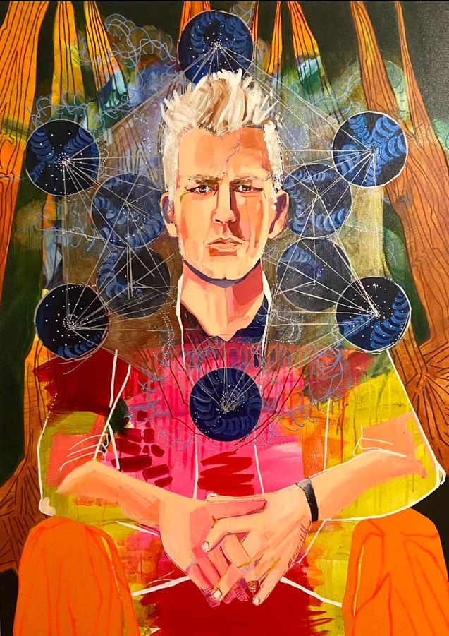 "Cosmic Thinker, 40""x30"" acrylic on canva"