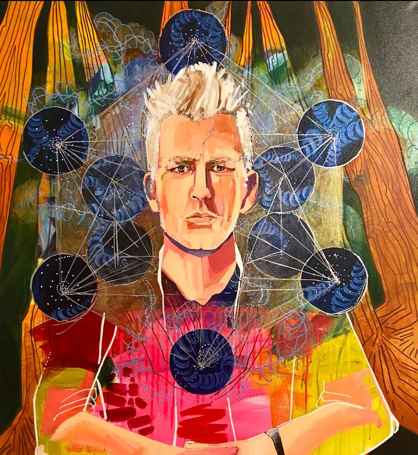 Cosmic Thinker, 40_x30_ acrylic on canva