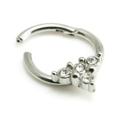 Steel Tri Gems Hinged Micro Ring  - 1.2mm