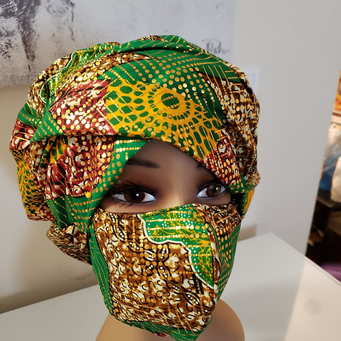 African Print Bonnet,  Wrap and Mask