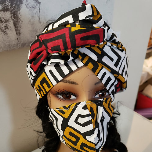 African print wrap and mask