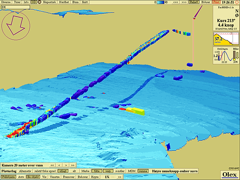 tow line mapped in 3d with WASSP Multibe