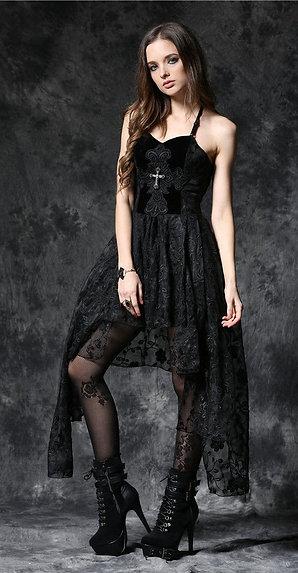 Dark in Love Black Dead Soul Gothic Cross Lace Dress