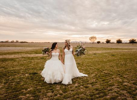 MELISSA + KENDRA // BEAUTIFUL SUNSET FIELD WEDDING AT GLOVER RANCH // TUCSON WEDDING PHOTOGRAPHER