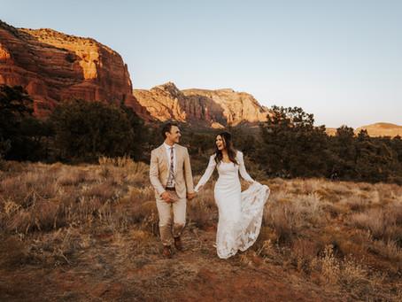 BRENLYN + CHANDLER // SUNSET RED ROCKS ELOPEMENT AT BELL ROCK // SEDONA WEDDING PHOTOGRAPHER