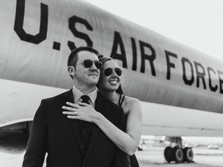 CASSIE + ANDREW // AIR FORCE ENGAGEMENT SESSION AT PIMA AIR AND SPACE MUSEUM