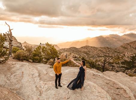 ALVARO + MAYRA // SUNSET MOUNTAIN ENGAGEMENT SESSION AT WINDY POINT //  TUCSON WEDDING PHOTOGRAPHER