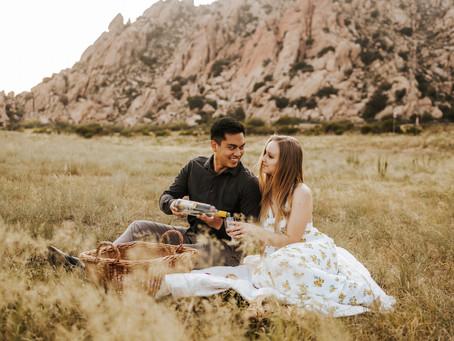TJ + KACIE // EASTERN ARIZONA SUNSET PICNIC SWEETHEART SESSION //  ARIZONA WEDDING PHOTOGRAPHER