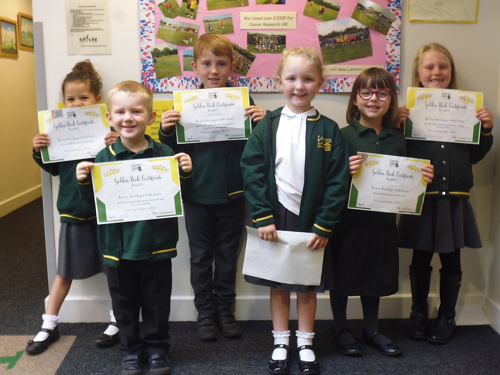 Our first Foundation and KS1 Golden Book certificate winners for this academic year. Well done everybody.