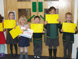 Look who's received a CARE certificate in the KS1 end of term assembly today!