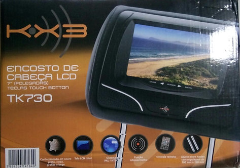ENCOSTO CABEÇA KX3 TELA LCD 7 POL