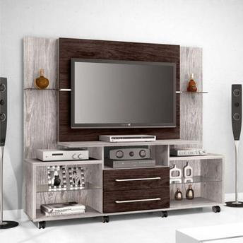 Rack Painel Bechara 5500 Luxo Gris/Imbuia Touch