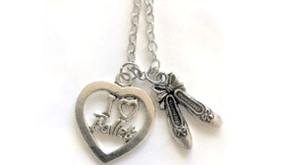 I LOVE HEART BALLET/SLIPPERS NECKLACE