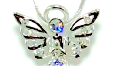 RHINESTONE ANGEL NECKLACE WITH RHINESTONE WINGTIPS