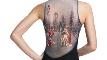 NUTCRACKER PRINT ZIP FRONT LEOTARD