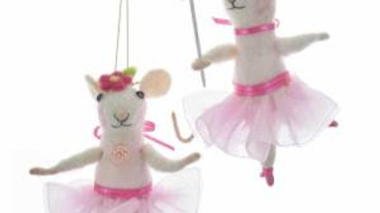 PINK BALLERINA MOUSE ORNAMENT