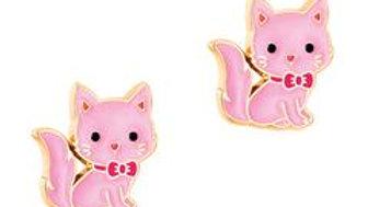 CUTIE ENAMEL PINK KITTY STUDS