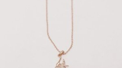 ROSE GOLD BALLERINA IN ARABESQUE NECKLACE