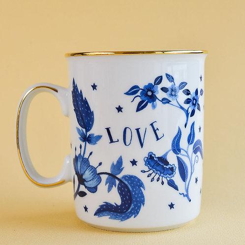 Mug Blue Floral Gold Rim