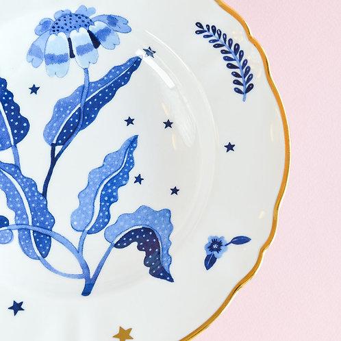 Deep Plate Blue Floral Gold Rim