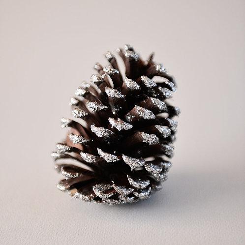 Pine Cones Coney Large Silver Glitter