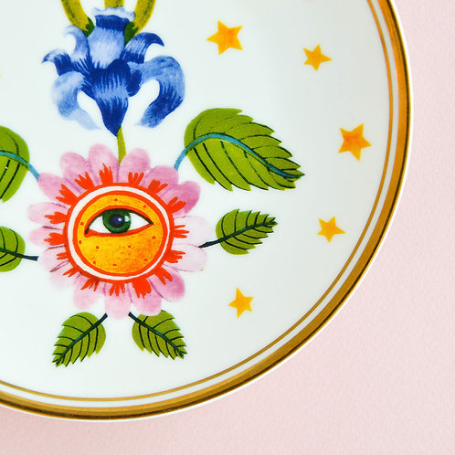 Plate Flower Eye Gold Rim