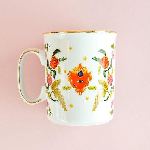 Mug Heart Eye Floral Gold Rim