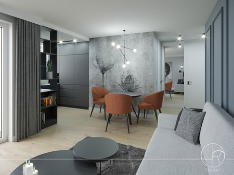 Projekt niewielkiego mieszkania w Gdańskiej dzielnicy nadmorskiej - Przymorze (42 m)