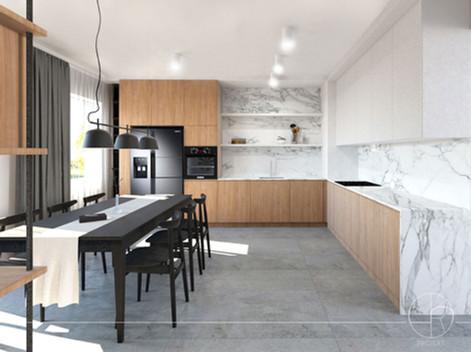 Przestronna kuchnia ze spiekami kwarcowymi (47 m)