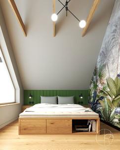 Sypialnia w domu na obrzeżach Gdańska