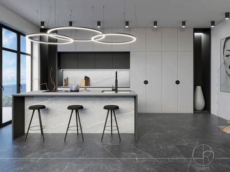 Nowoczesna kuchnia w apartamecie na wynajem w Gdyni - Kamienna Góra (68 m)