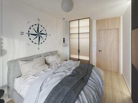 Sypialnia z marynistycznym akcentem w nowej inwestycji w Gdyni - Yacht Park
