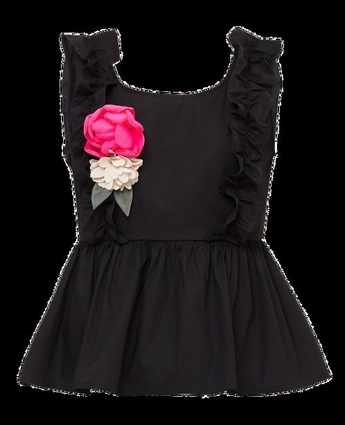 Canottiera con fiore Black - TWINSET MY TWIN
