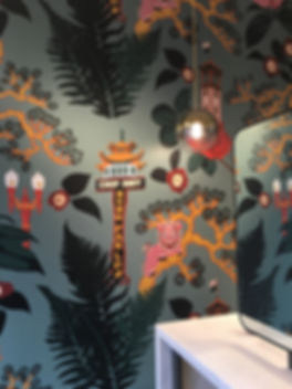 Custom wallcovering featuring Portland Chinatown landmarks at Gold + Arrow Salon by Kate Blairstone
