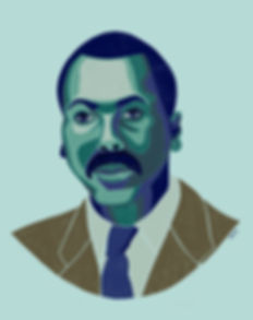 Illustrated Portrait of Painter and Educator, Jacob Lawrence by Kate Blairstone