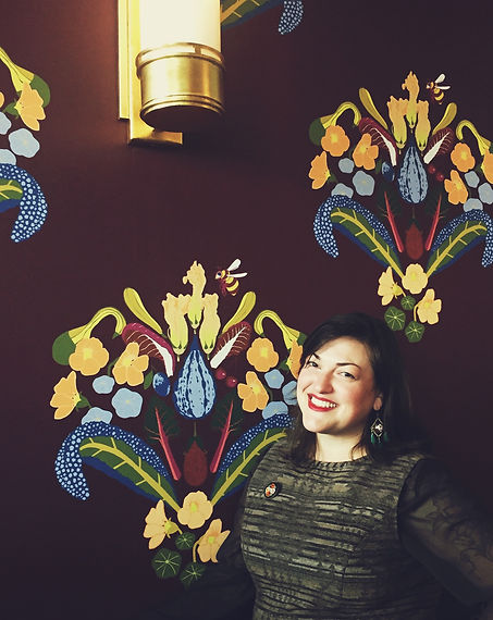 Custom garden wallpaper by Kate Blairstone for Besaw's in NW Portland
