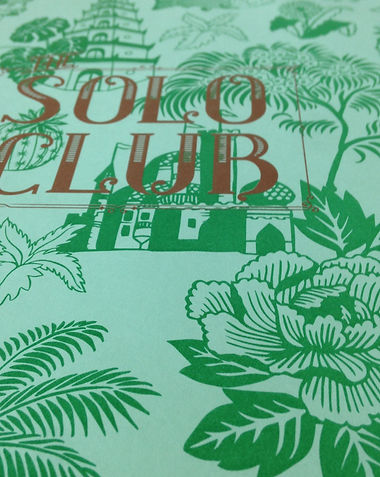 The Solo Club menu, Illustrated by Kate Blairstone