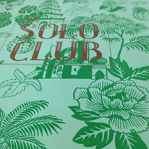 The Solo Club Menu design and illustration by Kate Blairstone
