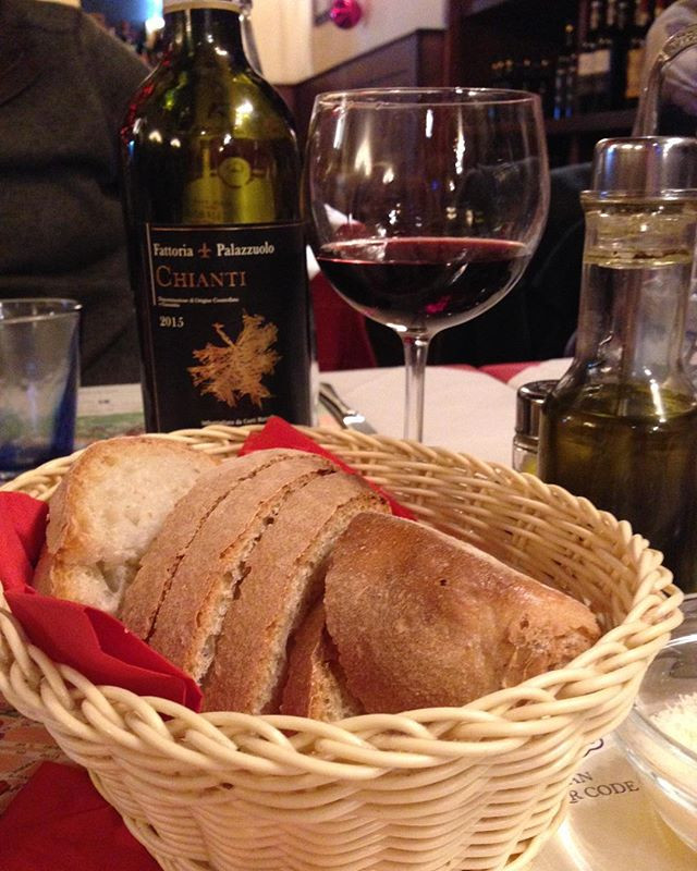 Chianti wine and bread in Florence