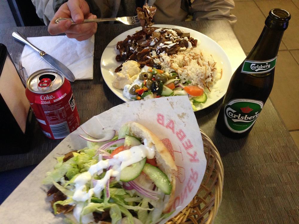Lunch at a Shwarma shop in Copenhagen Denmark
