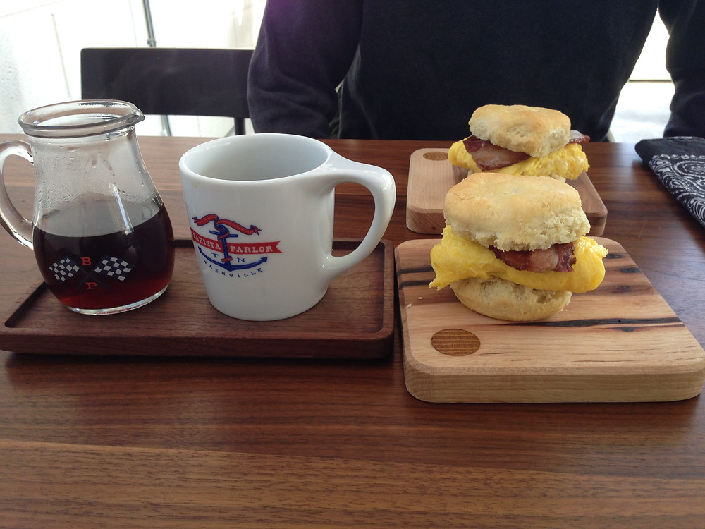 Breakfast of biscuit sandwiches and coffee at the Barista Parlor in Nashville, TN