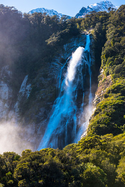 Waterfall,Milford Sound, New Zealand