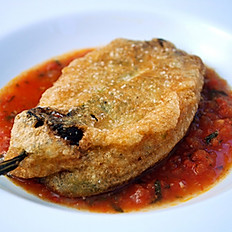 Chile Relleno with Tomato Jalapeno Sauce