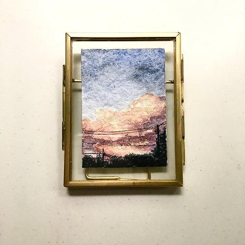 Surge / original tiny watercolor + ink landscape (framed)