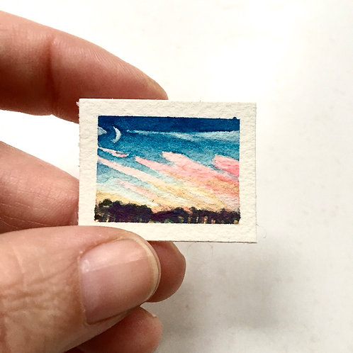 Waxing Crescent / original tiny watercolor painting (unframed)