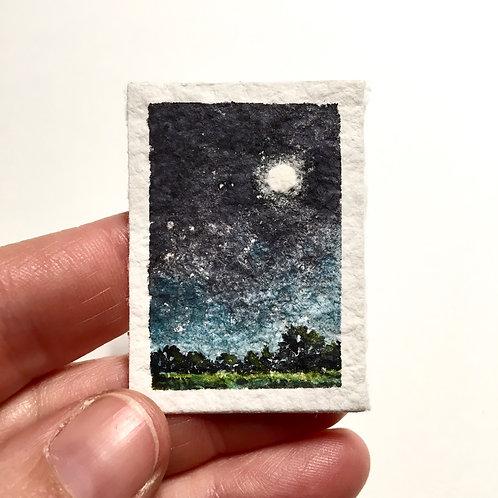 Night Light / original tiny landscape painting (unframed)