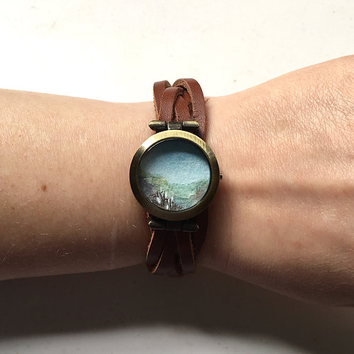 Sanctuary / timeless watch with original tiny watercolor painting