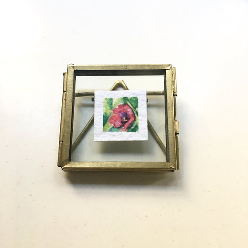 Wild Crane / original tiny watercolor painting (framed)
