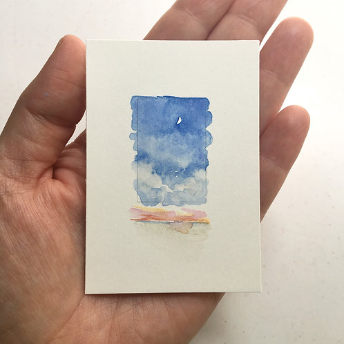 a day of sun / original tiny watercolor study (unframed)