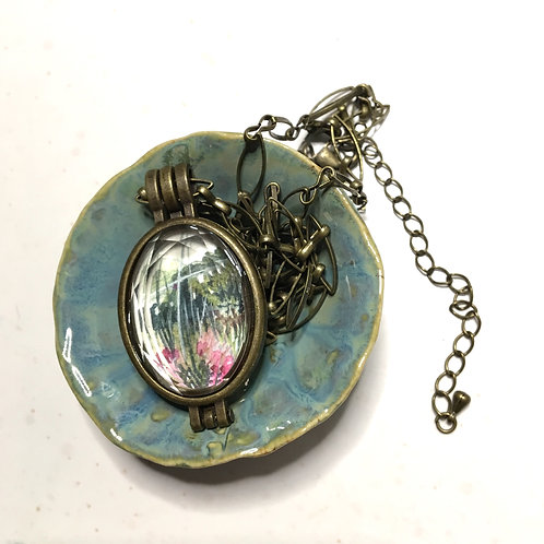 Bend / pendant + necklace with original tiny watercolor painting